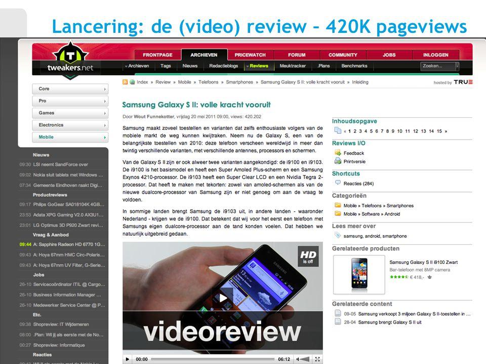 Lancering: de (video) review – 420K pageviews 8