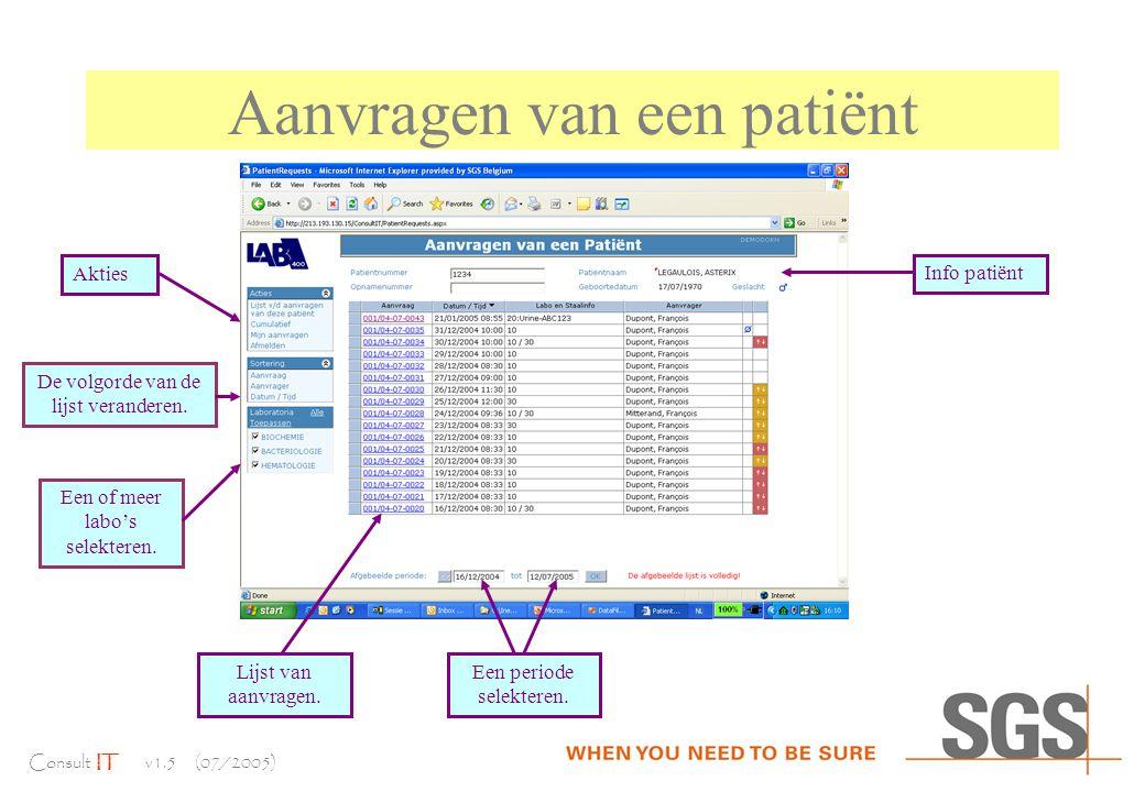 Consult IT v1.5 (07/2005) Aanvragen van een patiënt Info patiënt Lijst van aanvragen.