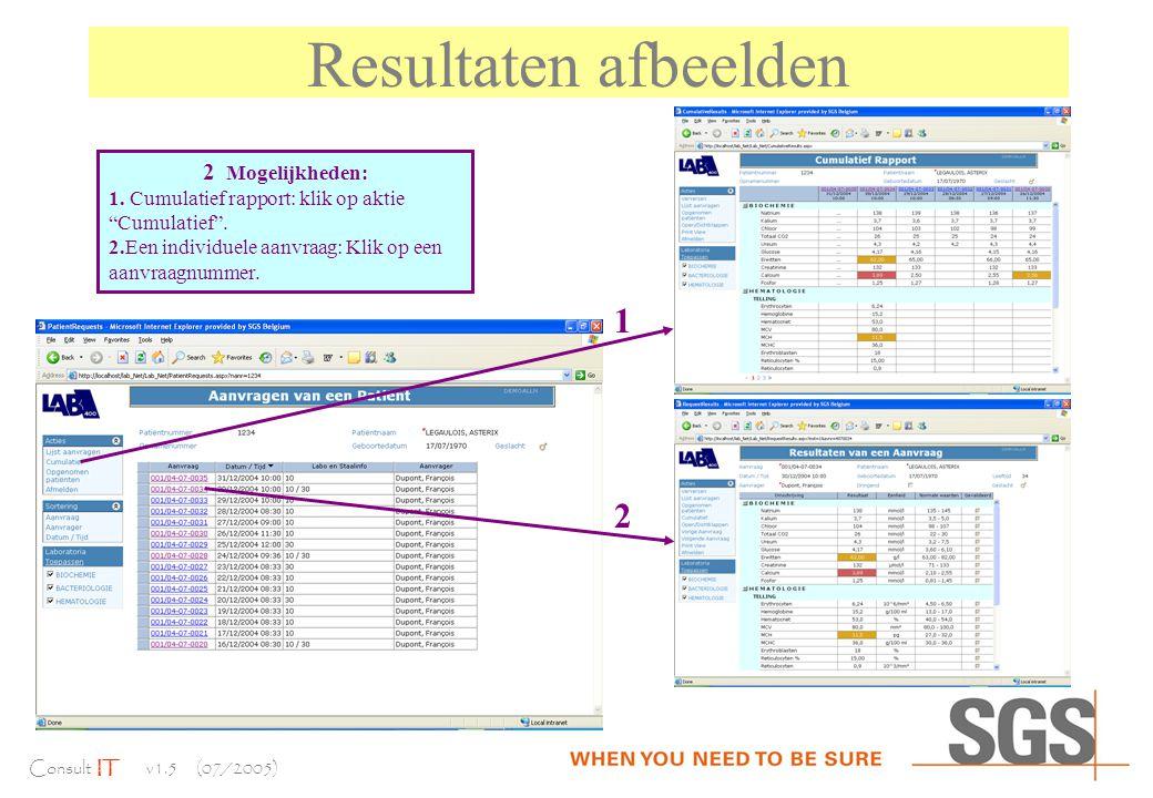 Consult IT v1.5 (07/2005) Resultaten afbeelden 2 Mogelijkheden: 1.