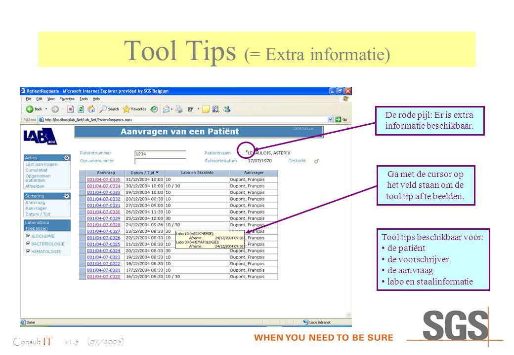 Consult IT v1.5 (07/2005) Tool Tips (= Extra informatie) Ga met de cursor op het veld staan om de tool tip af te beelden.