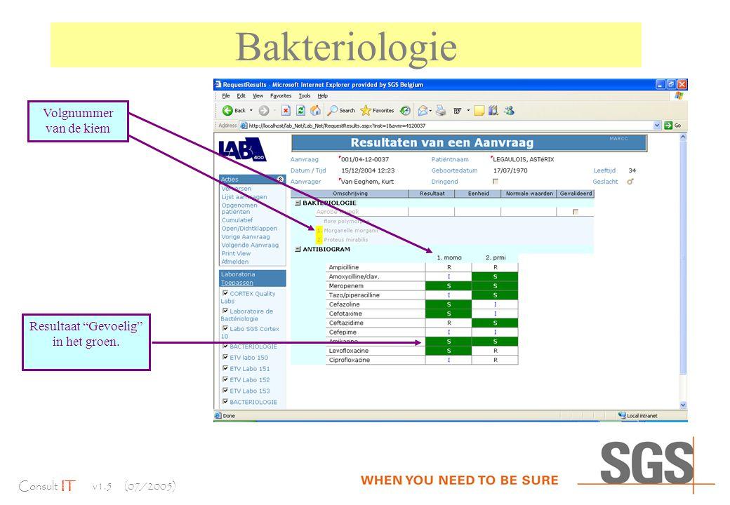 Consult IT v1.5 (07/2005) Bakteriologie Volgnummer van de kiem Resultaat Gevoelig in het groen.