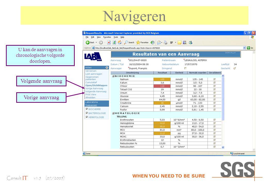 Consult IT v1.5 (07/2005) Navigeren U kan de aanvragen in chronologische volgorde doorlopen.