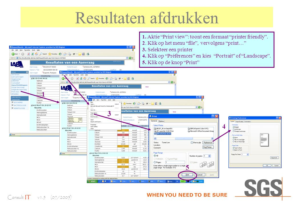 Consult IT v1.5 (07/2005) Resultaten afdrukken 1.