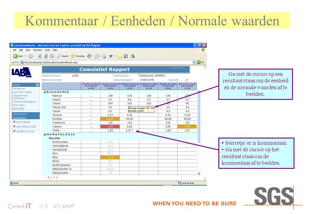 Consult IT v1.5 (07/2005) Kommentaar / Eenheden / Normale waarden Ga met de cursor op een resultaat staan om de eenheid en de normale waarden af te beelden.
