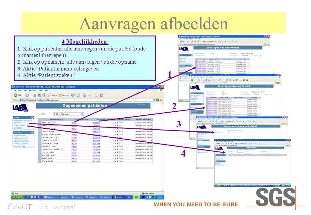 Consult IT v1.5 (07/2005) Aanvragen afbeelden 4 Mogelijkheden : 1.
