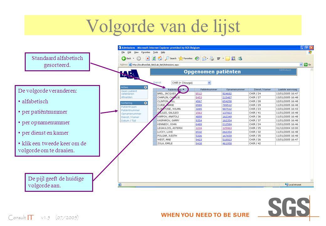 Consult IT v1.5 (07/2005) Volgorde van de lijst Standaard alfabetisch gesorteerd.