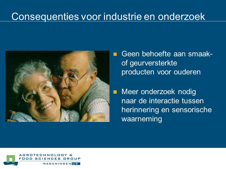Consequenties voor industrie en onderzoek Geen behoefte aan smaak- of geurversterkte producten voor ouderen Meer onderzoek nodig naar de interactie tu
