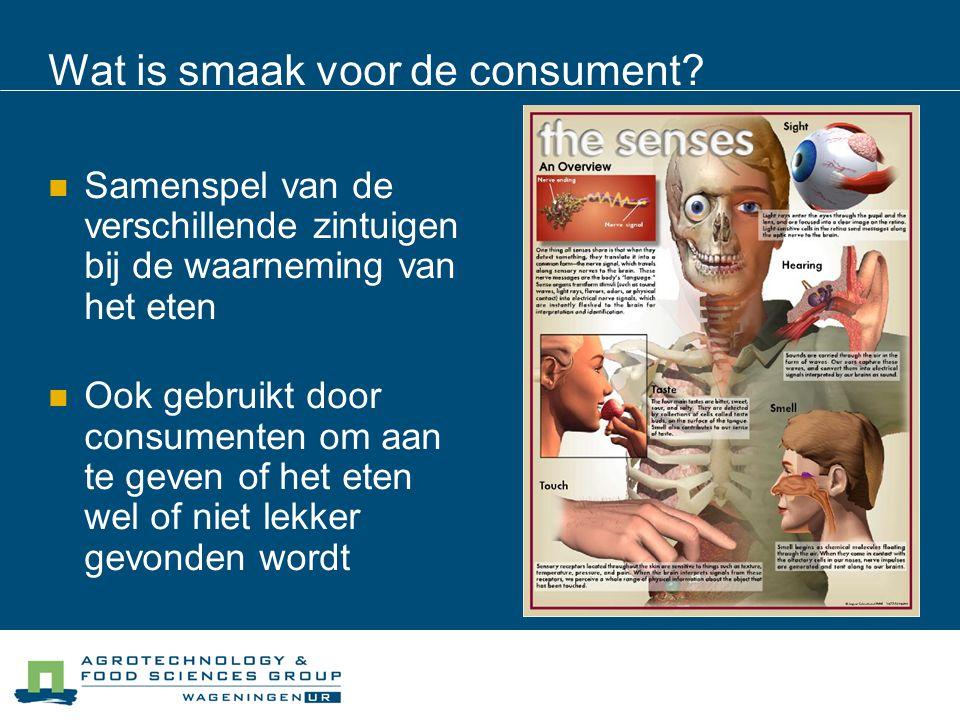 Wat is smaak voor de consument? Samenspel van de verschillende zintuigen bij de waarneming van het eten Ook gebruikt door consumenten om aan te geven