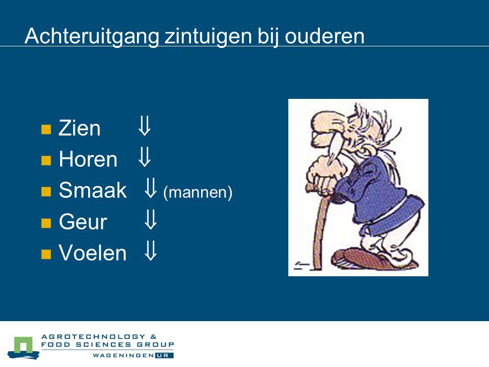 Voorbeeld: Onderzoek Geurgevoeligheid De ouderen konden minder vaak geuren waarnemen & benoemen Toch is de achteruitgang per persoon heel verschillend.