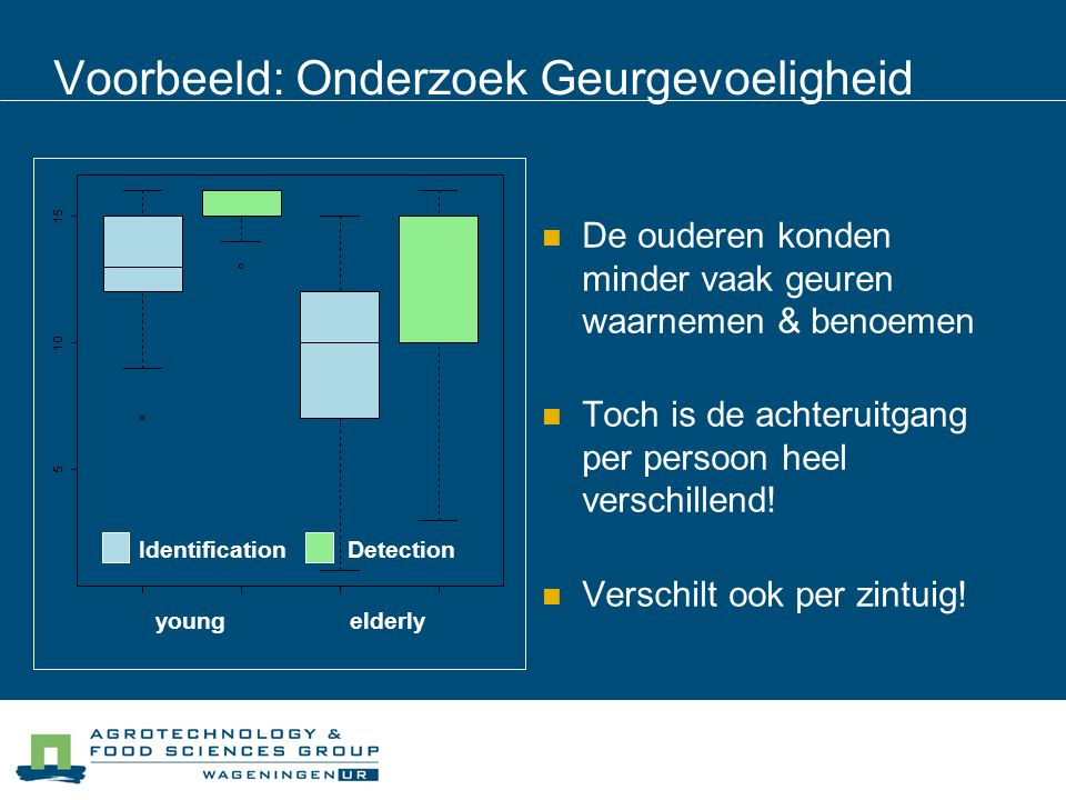 Voorbeeld: Onderzoek Geurgevoeligheid De ouderen konden minder vaak geuren waarnemen & benoemen Toch is de achteruitgang per persoon heel verschillend