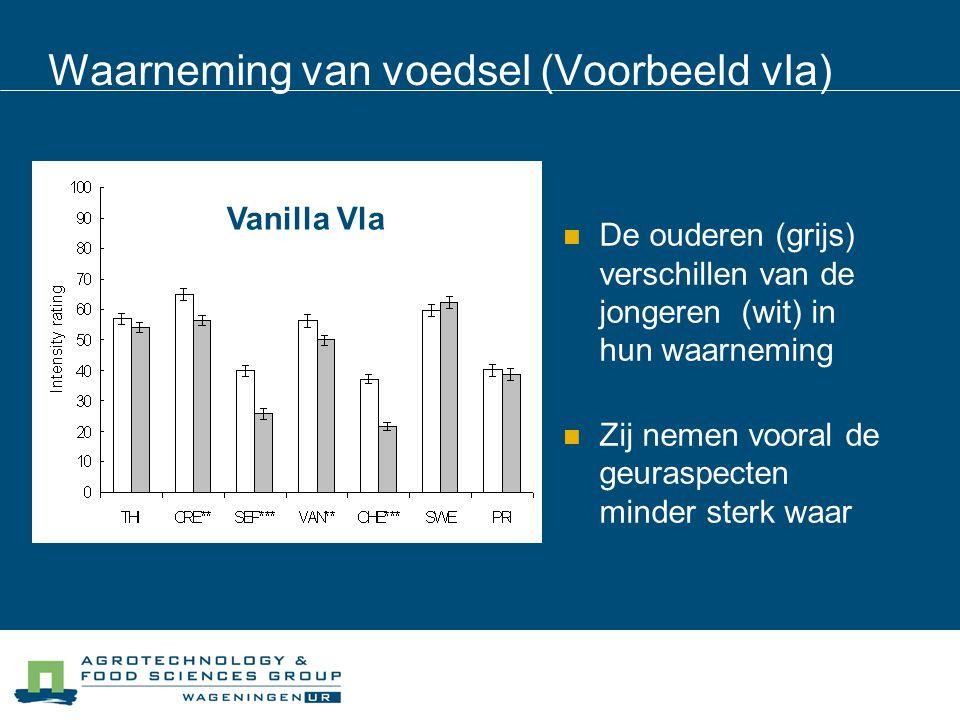 Waarneming van voedsel (Voorbeeld vla) De ouderen (grijs) verschillen van de jongeren (wit) in hun waarneming Zij nemen vooral de geuraspecten minder