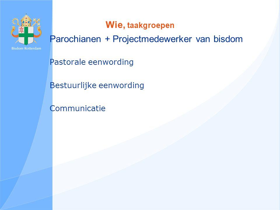 Wie, taakgroepen Parochianen + Projectmedewerker van bisdom Pastorale eenwording Bestuurlijke eenwording Communicatie