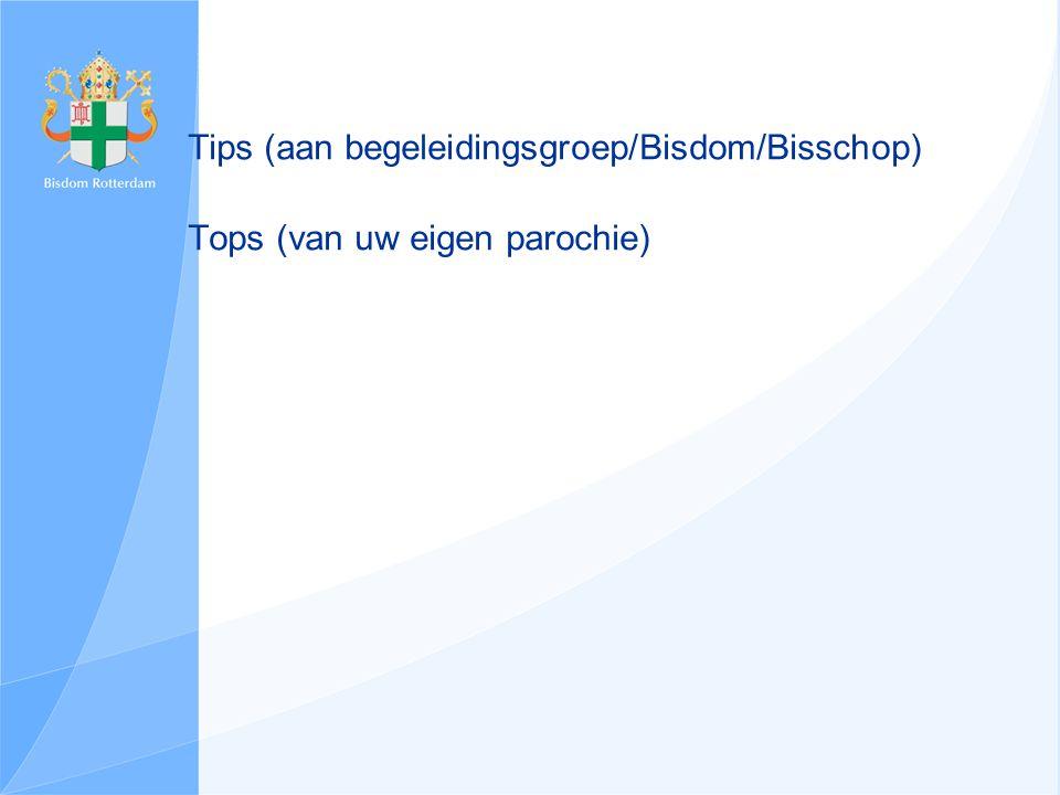 Tips (aan begeleidingsgroep/Bisdom/Bisschop) Tops (van uw eigen parochie)