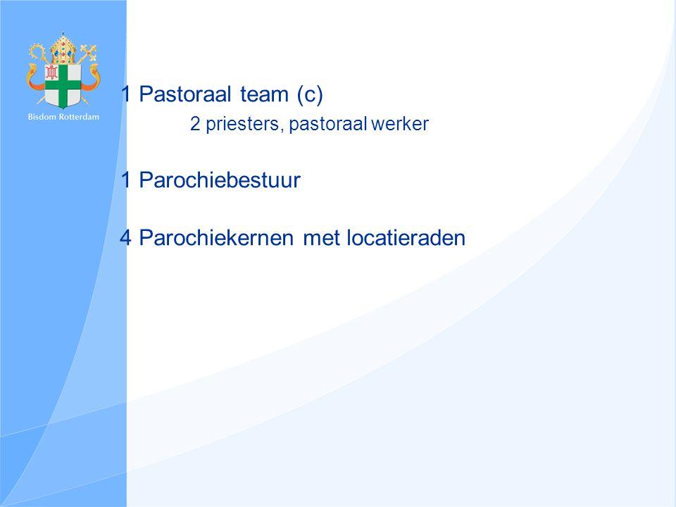 1 Pastoraal team (c) 2 priesters, pastoraal werker 1 Parochiebestuur 4 Parochiekernen met locatieraden