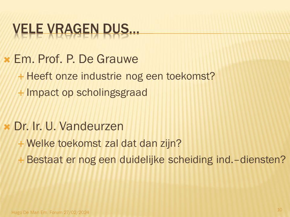  Em. Prof. P. De Grauwe  Heeft onze industrie nog een toekomst.