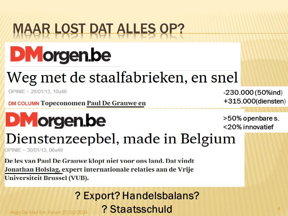 -230.000 (50%ind) +315.000(diensten) . Export. Handelsbalans.