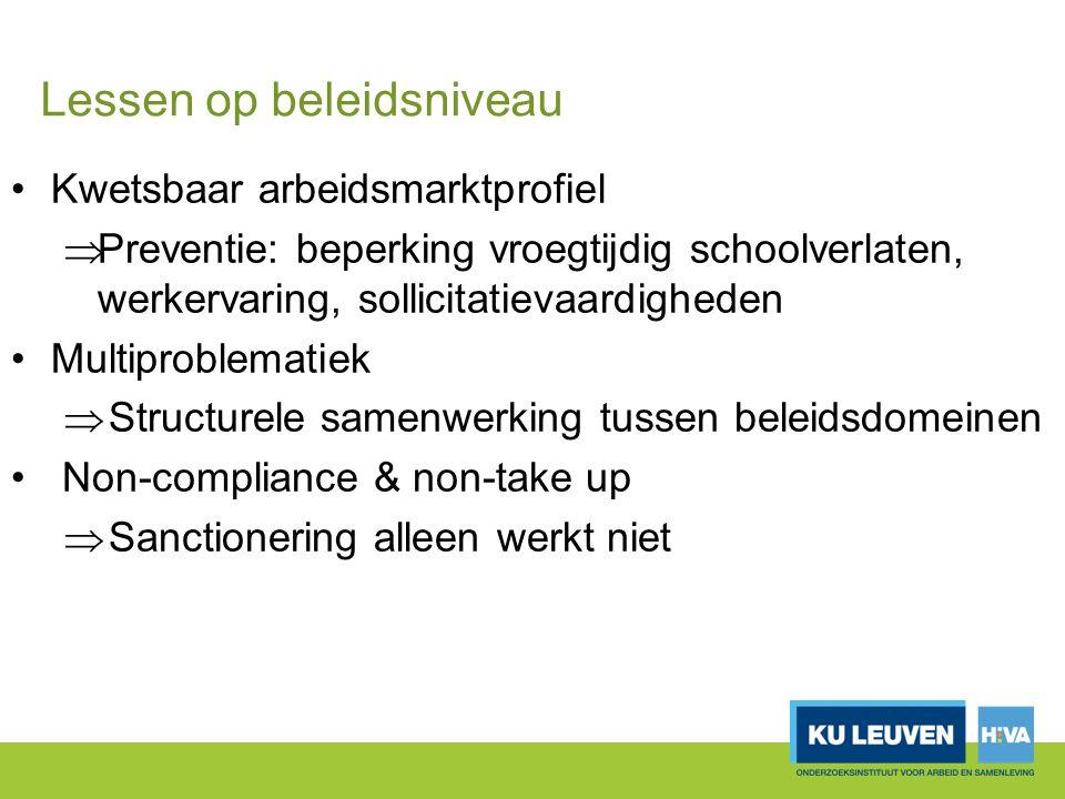 Lessen op beleidsniveau Kwetsbaar arbeidsmarktprofiel  Preventie: beperking vroegtijdig schoolverlaten, werkervaring, sollicitatievaardigheden Multip