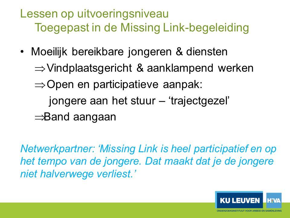 Lessen op uitvoeringsniveau Toegepast in de Missing Link-begeleiding Moeilijk bereikbare jongeren & diensten  Vindplaatsgericht & aanklampend werken