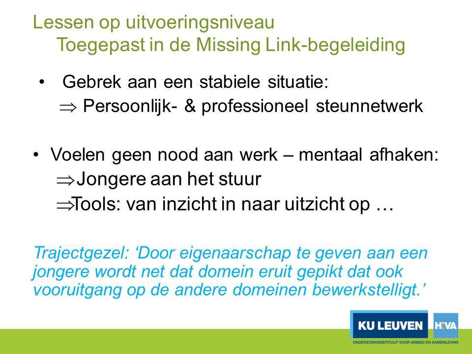 Lessen op uitvoeringsniveau Toegepast in de Missing Link-begeleiding Gebrek aan een stabiele situatie:  Persoonlijk- & professioneel steunnetwerk Voe