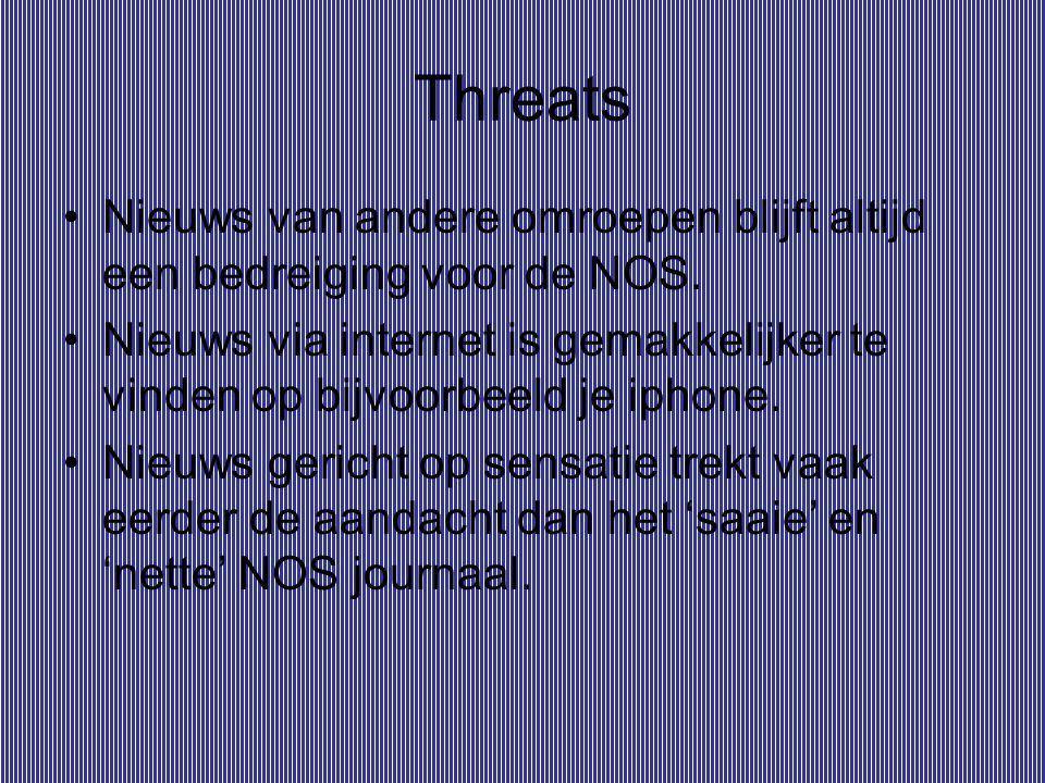 Threats Nieuws van andere omroepen blijft altijd een bedreiging voor de NOS. Nieuws via internet is gemakkelijker te vinden op bijvoorbeeld je iphone.