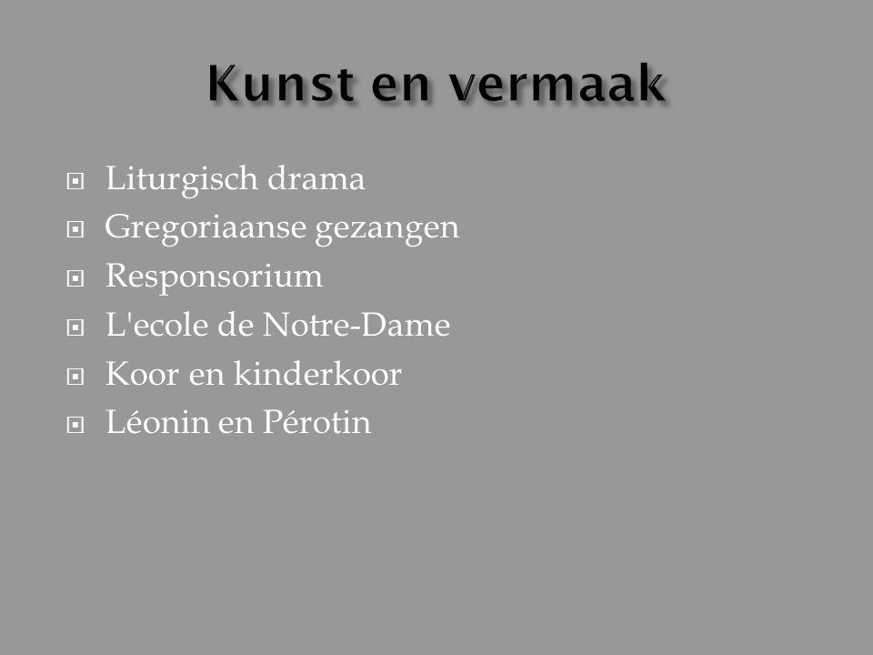  Liturgisch drama  Gregoriaanse gezangen  Responsorium  L'ecole de Notre-Dame  Koor en kinderkoor  Léonin en Pérotin