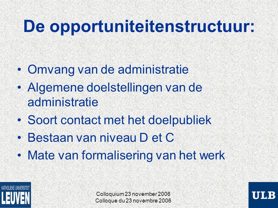 De opportuniteitenstructuur: Omvang van de administratie Algemene doelstellingen van de administratie Soort contact met het doelpubliek Bestaan van niveau D et C Mate van formalisering van het werk Colloquium 23 november 2006 Colloque du 23 novembre 2006