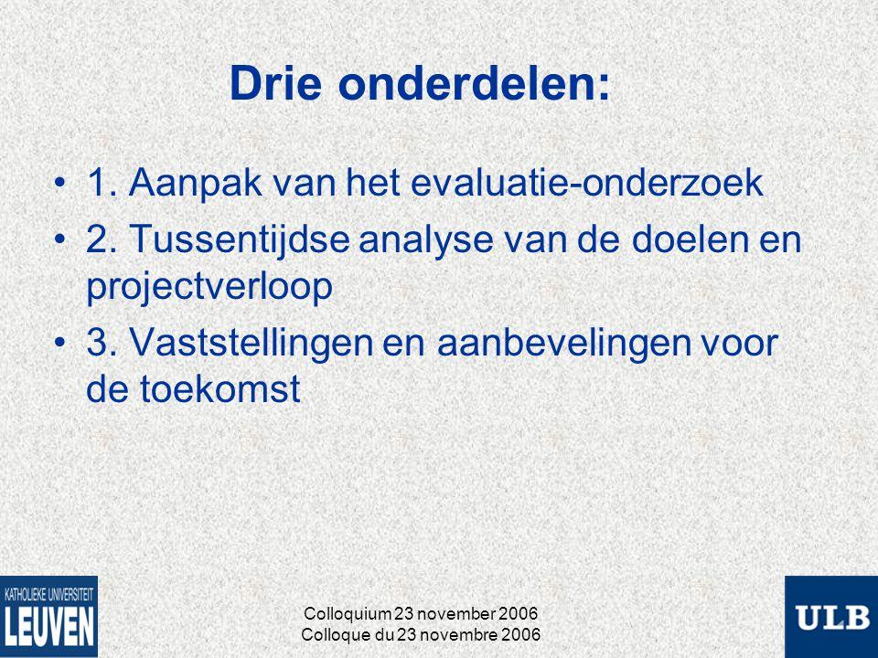 Drie onderdelen: 1. Aanpak van het evaluatie-onderzoek 2.