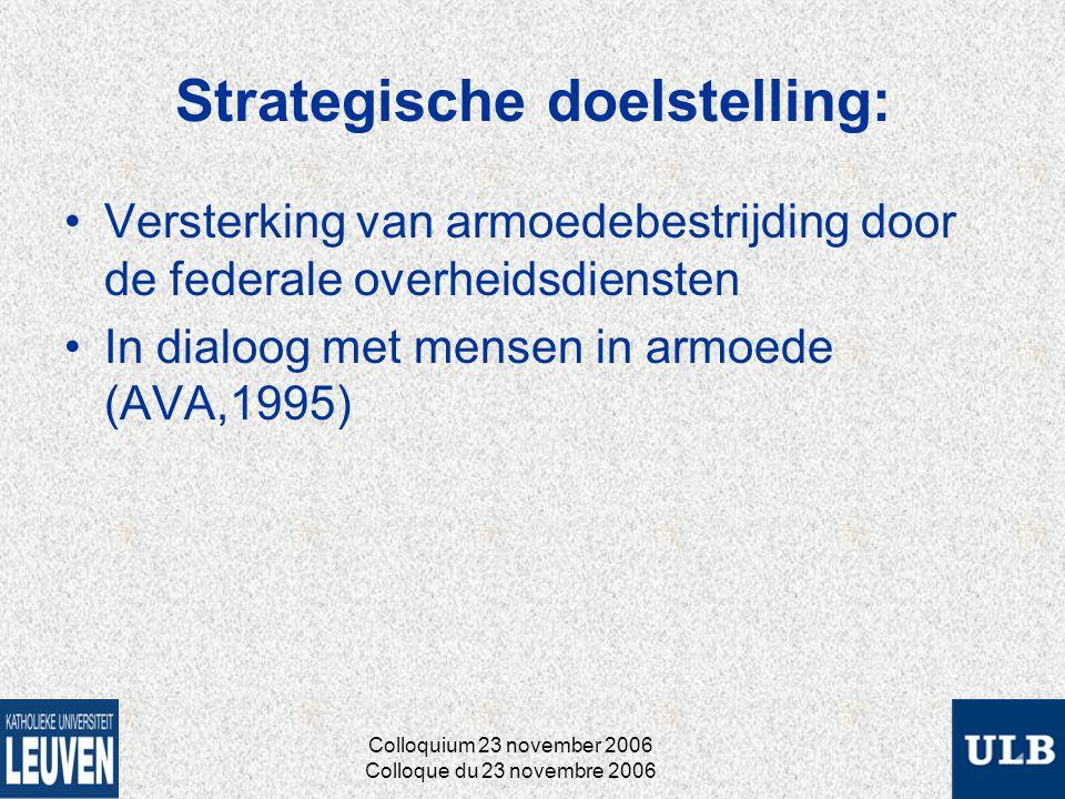 Strategische doelstelling: Versterking van armoedebestrijding door de federale overheidsdiensten In dialoog met mensen in armoede (AVA,1995) Colloquium 23 november 2006 Colloque du 23 novembre 2006
