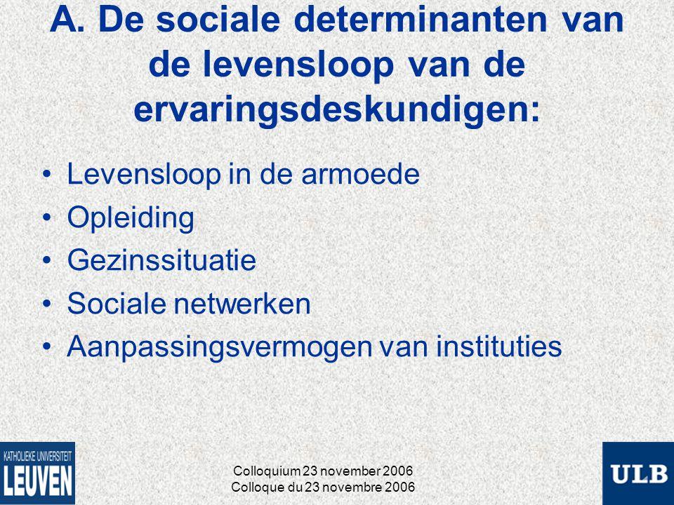 A. De sociale determinanten van de levensloop van de ervaringsdeskundigen: Levensloop in de armoede Opleiding Gezinssituatie Sociale netwerken Aanpass