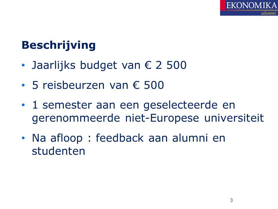 Beschrijving Jaarlijks budget van € 2 500 5 reisbeurzen van € 500 1 semester aan een geselecteerde en gerenommeerde niet-Europese universiteit Na afloop : feedback aan alumni en studenten 3