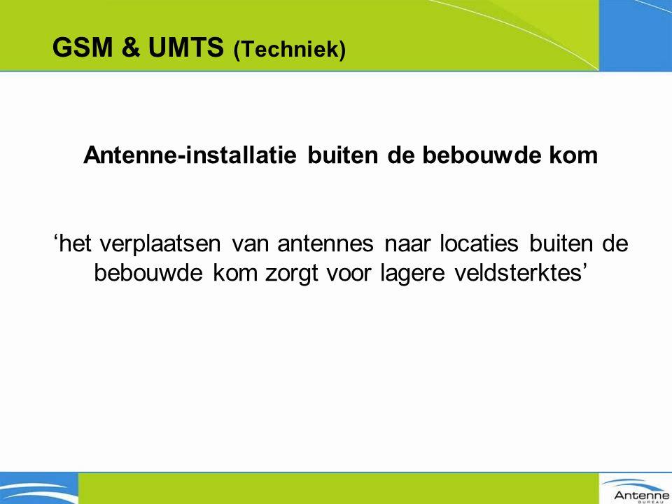GSM & UMTS (Techniek) Antenne-installatie buiten de bebouwde kom 'het verplaatsen van antennes naar locaties buiten de bebouwde kom zorgt voor lagere veldsterktes'