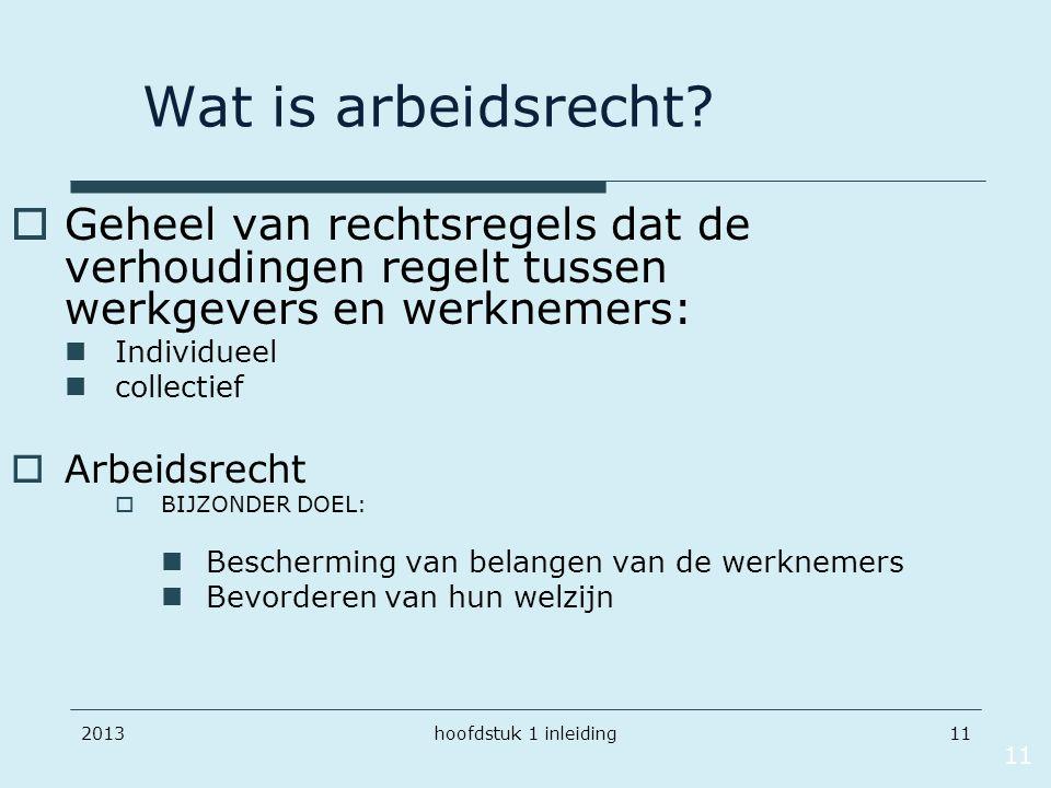 201311 Wat is arbeidsrecht?  Geheel van rechtsregels dat de verhoudingen regelt tussen werkgevers en werknemers: Individueel collectief  Arbeidsrech