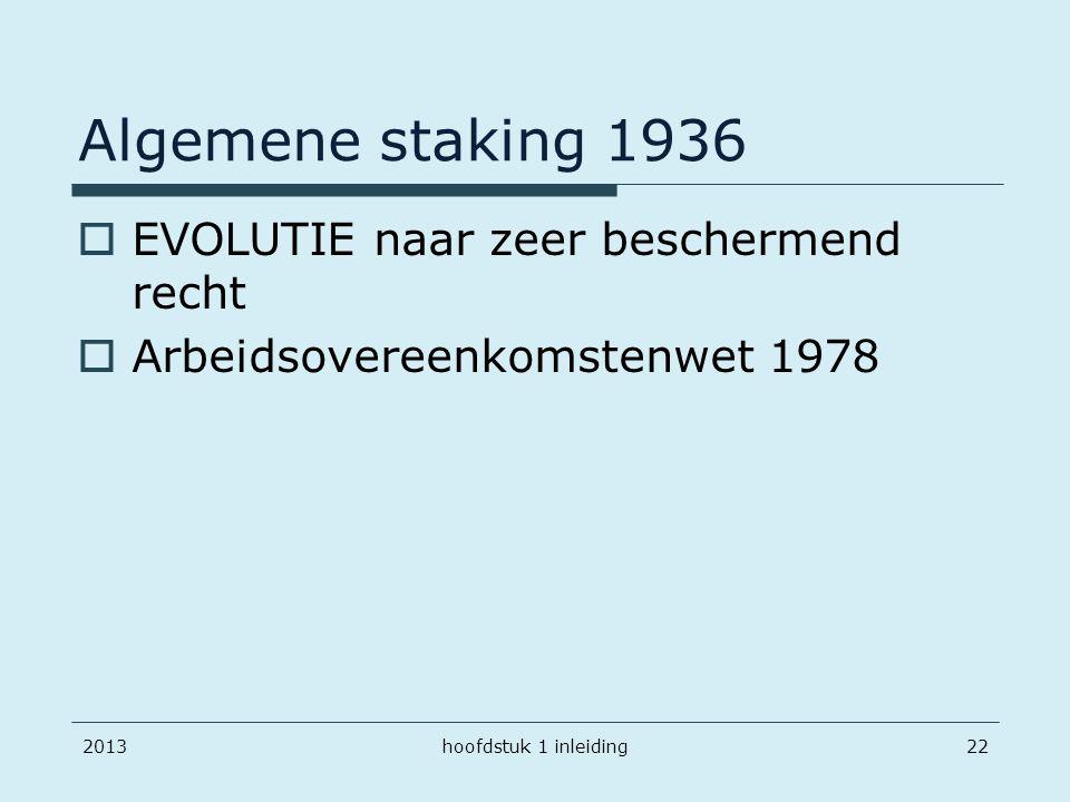 Algemene staking 1936  EVOLUTIE naar zeer beschermend recht  Arbeidsovereenkomstenwet 1978 2013hoofdstuk 1 inleiding22