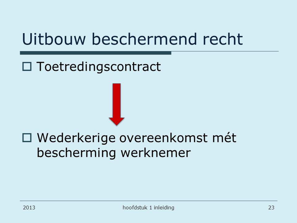 Uitbouw beschermend recht  Toetredingscontract  Wederkerige overeenkomst mét bescherming werknemer 2013hoofdstuk 1 inleiding23