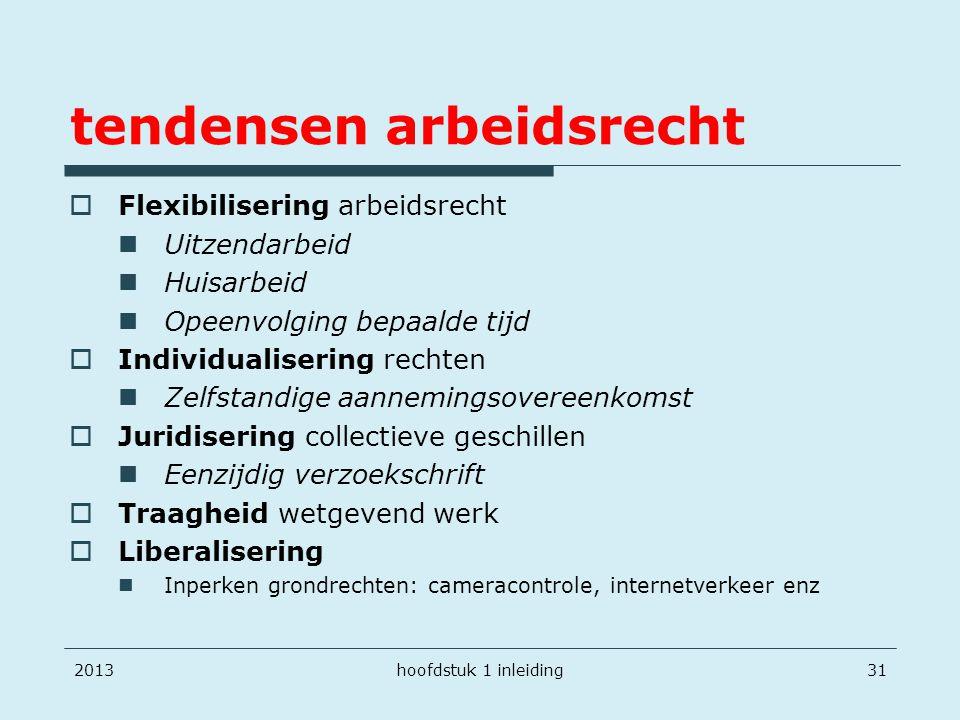 tendensen arbeidsrecht  Flexibilisering arbeidsrecht Uitzendarbeid Huisarbeid Opeenvolging bepaalde tijd  Individualisering rechten Zelfstandige aan