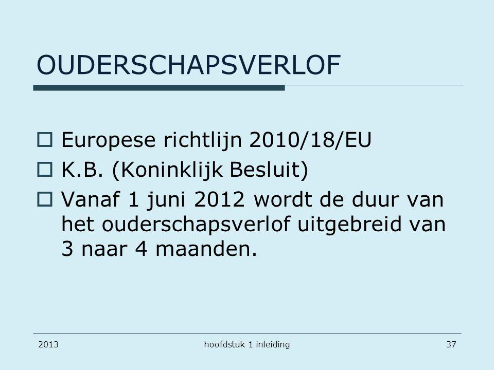 OUDERSCHAPSVERLOF  Europese richtlijn 2010/18/EU  K.B. (Koninklijk Besluit)  Vanaf 1 juni 2012 wordt de duur van het ouderschapsverlof uitgebreid v