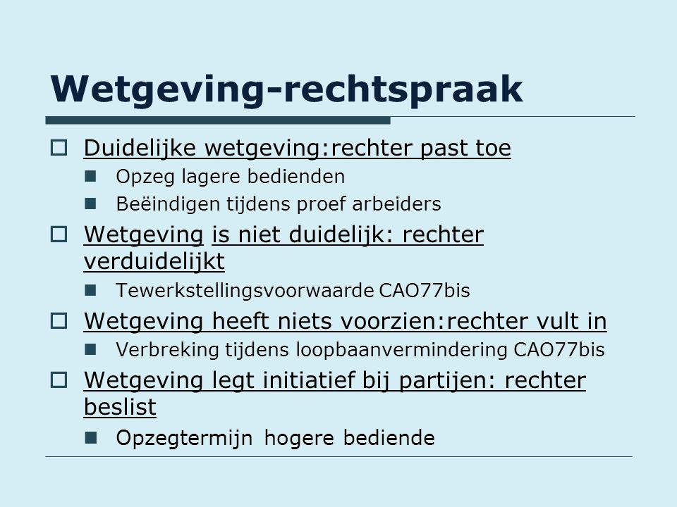 Wetgeving-rechtspraak  Duidelijke wetgeving:rechter past toe Opzeg lagere bedienden Beëindigen tijdens proef arbeiders  Wetgeving is niet duidelijk: