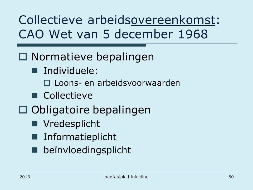 201350 Collectieve arbeidsovereenkomst: CAO Wet van 5 december 1968  Normatieve bepalingen Individuele:  Loons- en arbeidsvoorwaarden Collectieve 