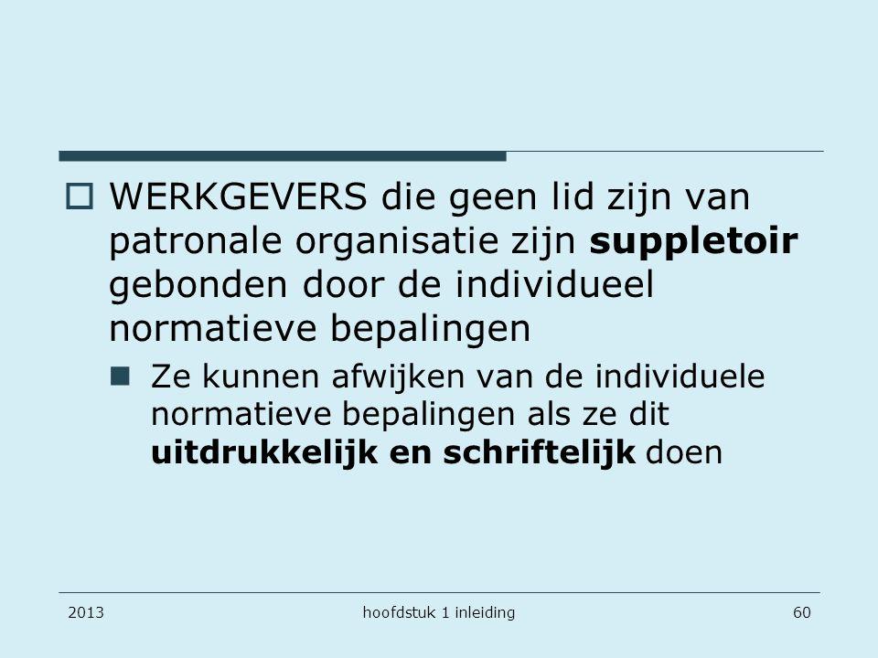 201360  WERKGEVERS die geen lid zijn van patronale organisatie zijn suppletoir gebonden door de individueel normatieve bepalingen Ze kunnen afwijken