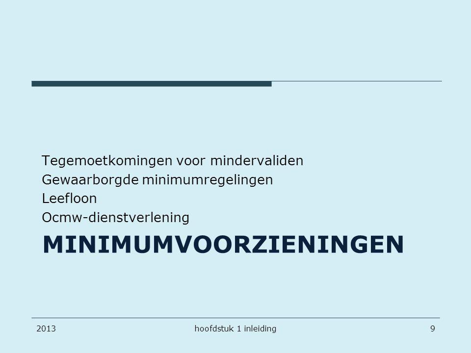 MINIMUMVOORZIENINGEN Tegemoetkomingen voor mindervaliden Gewaarborgde minimumregelingen Leefloon Ocmw-dienstverlening 20139hoofdstuk 1 inleiding