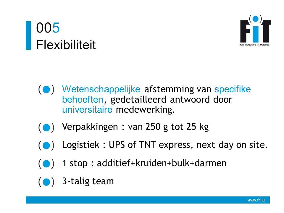 www.fit.lu Flexibiliteit 005 Wetenschappelijke afstemming van specifike behoeften, gedetailleerd antwoord door universitaire medewerking. Verpakkingen