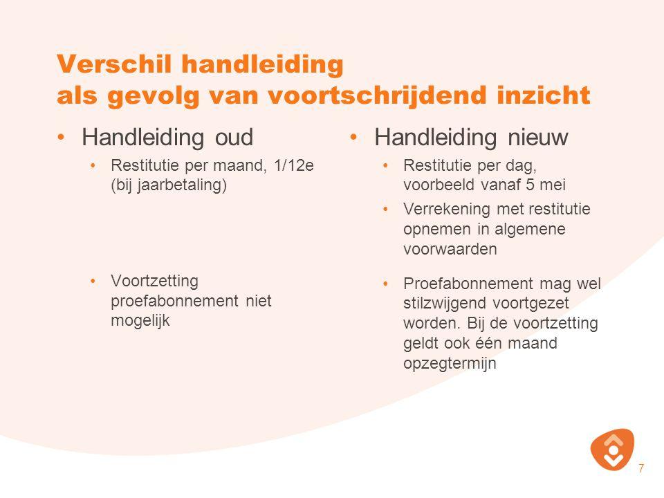 Verschil handleiding als gevolg van voortschrijdend inzicht 7 Handleiding oud Restitutie per maand, 1/12e (bij jaarbetaling) Voortzetting proefabonnem