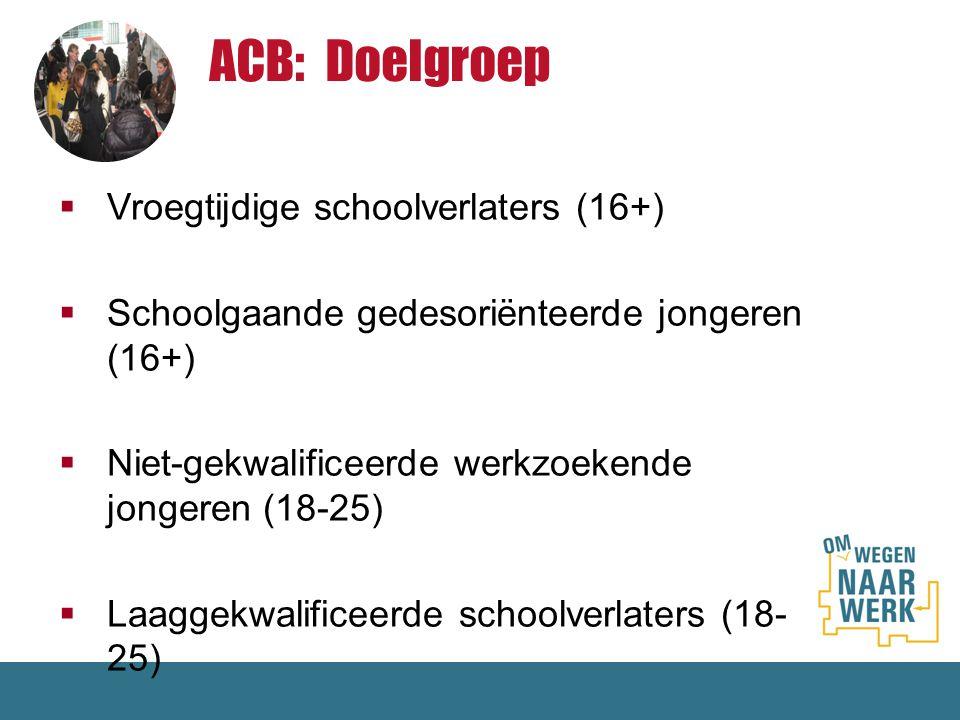  Vroegtijdige schoolverlaters (16+)  Schoolgaande gedesoriënteerde jongeren (16+)  Niet-gekwalificeerde werkzoekende jongeren (18-25)  Laaggekwali