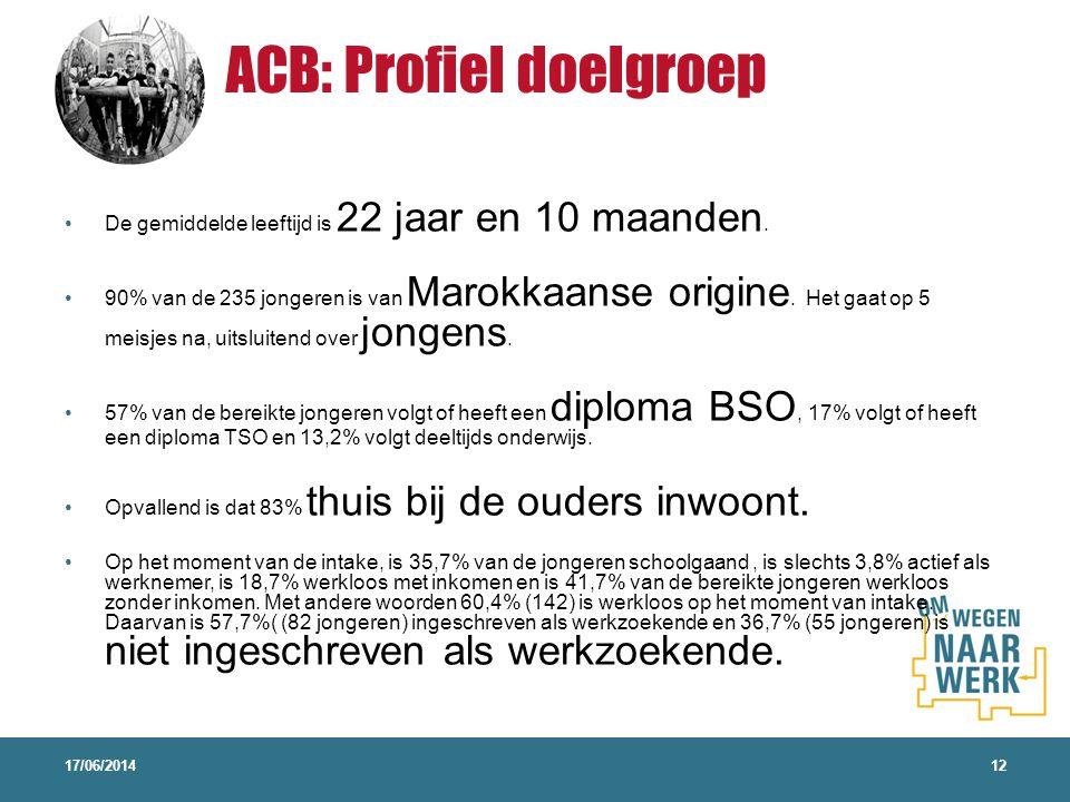 ACB: Profiel doelgroep 17/06/201412 De gemiddelde leeftijd is 22 jaar en 10 maanden. 90% van de 235 jongeren is van Marokkaanse origine. Het gaat op 5
