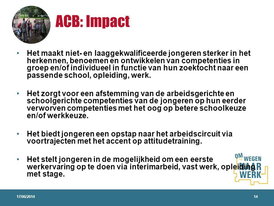 ACB: Impact 17/06/201414 Het maakt niet- en laaggekwalificeerde jongeren sterker in het herkennen, benoemen en ontwikkelen van competenties in groep e