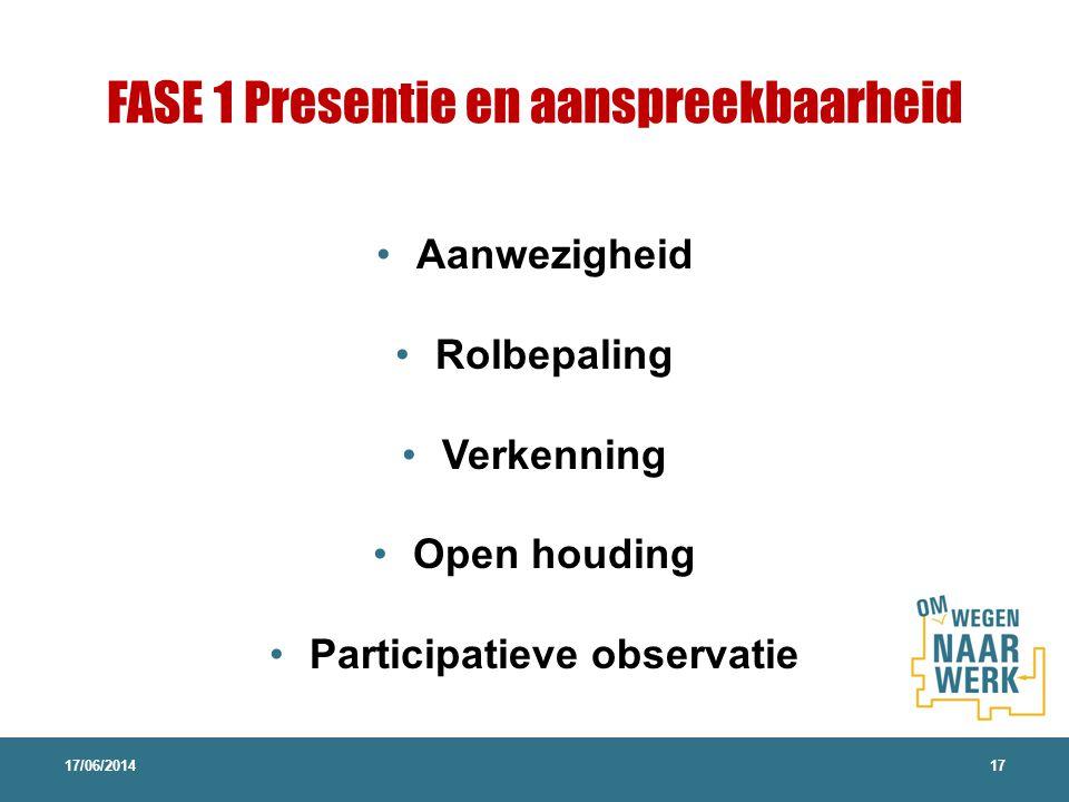FASE 1 Presentie en aanspreekbaarheid Aanwezigheid Rolbepaling Verkenning Open houding Participatieve observatie 17/06/201417