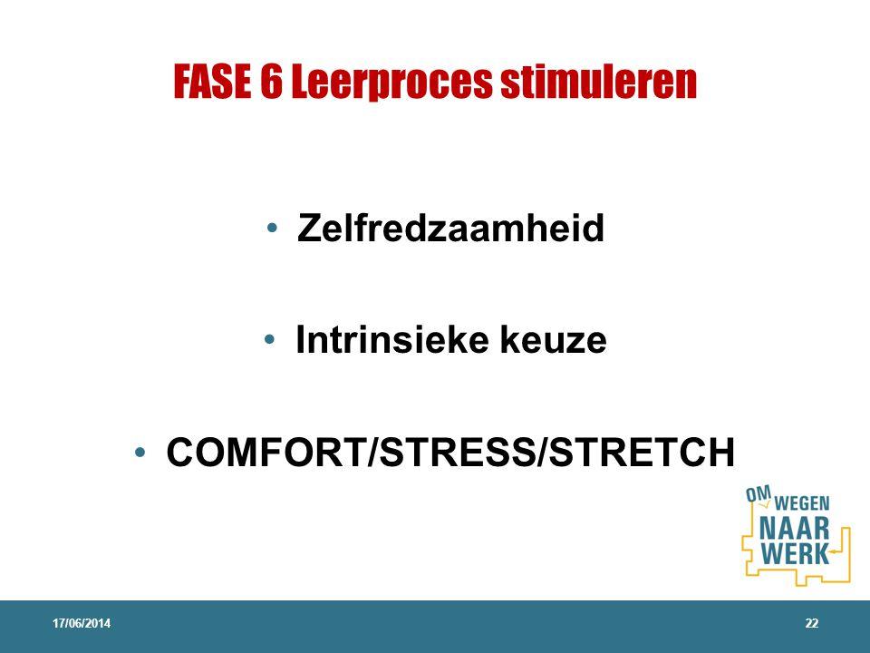 FASE 6 Leerproces stimuleren Zelfredzaamheid Intrinsieke keuze COMFORT/STRESS/STRETCH 17/06/201422