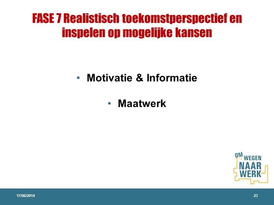 FASE 7 Realistisch toekomstperspectief en inspelen op mogelijke kansen Motivatie & Informatie Maatwerk 17/06/201423
