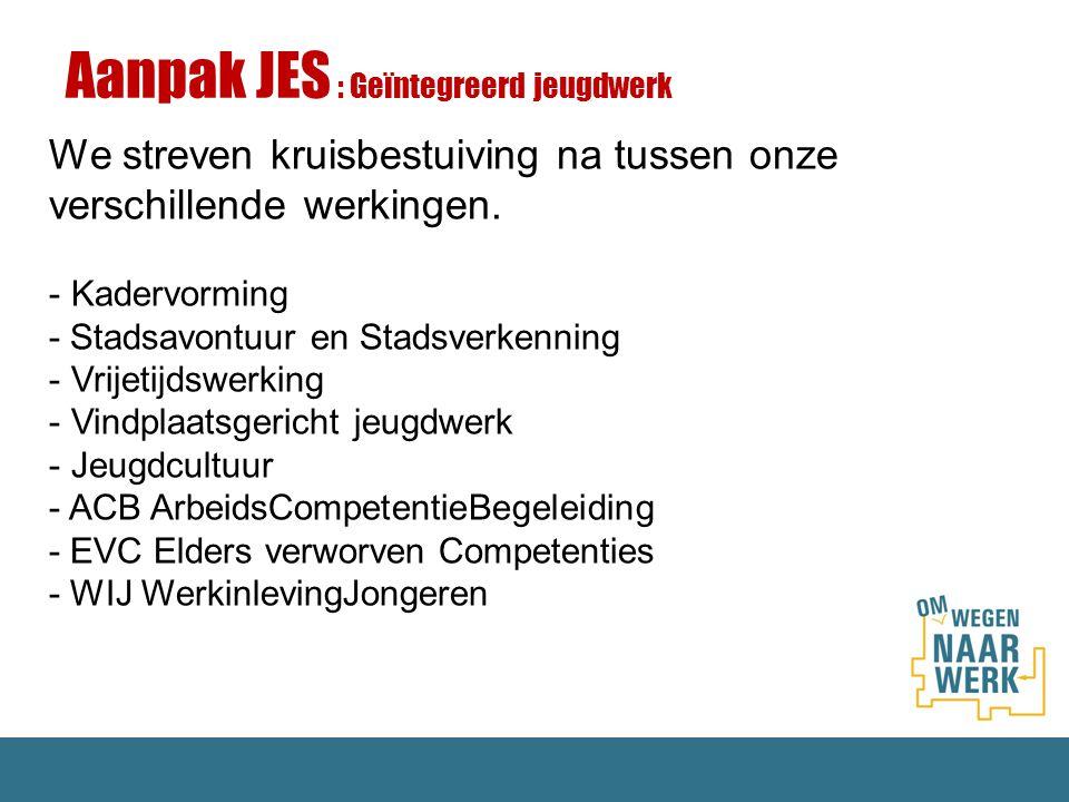 Aanpak JES : Geïntegreerd jeugdwerk We streven kruisbestuiving na tussen onze verschillende werkingen. - Kadervorming - Stadsavontuur en Stadsverkenni