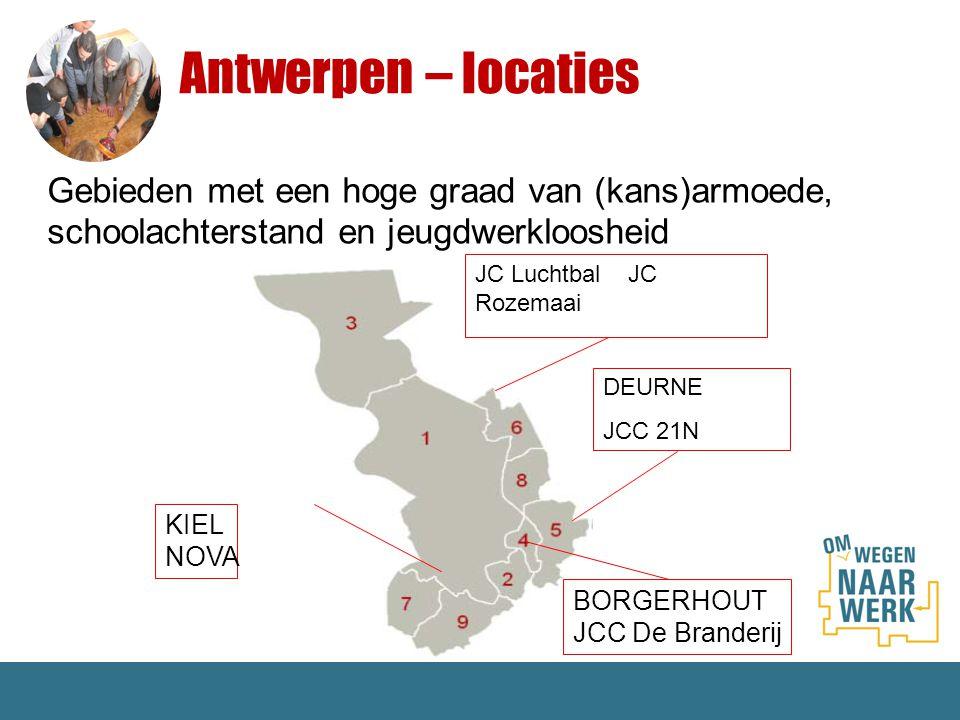 Antwerpen – locaties Gebieden met een hoge graad van (kans)armoede, schoolachterstand en jeugdwerkloosheid KIEL NOVA BORGERHOUT JCC De Branderij DEURN